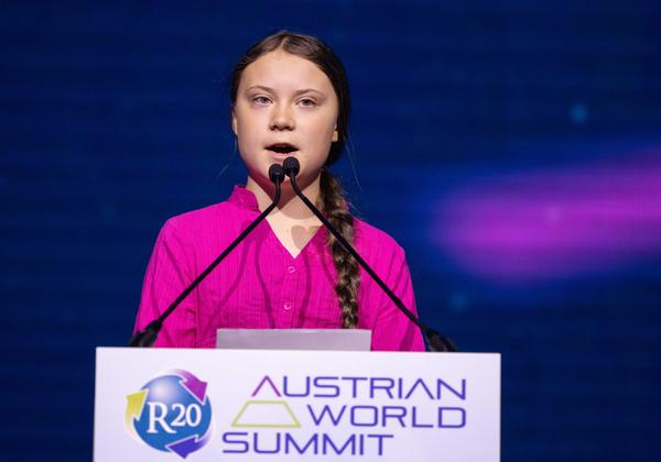 Swedish climate activist Greta Thunberg gives a speech during the opening ceremony of the R20 Regions of Climate Action Austrian World Summit in Vienna, Austria, on May 28, 2019. (Photo by GEORG HOCHMUTH / APA / AFP) / Austria OUT        (Photo credit should read GEORG HOCHMUTH/AFP/Getty Images)